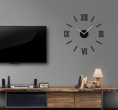 DomTextilu Nalepovacie hodiny na stenu v čiernej farbe 8715