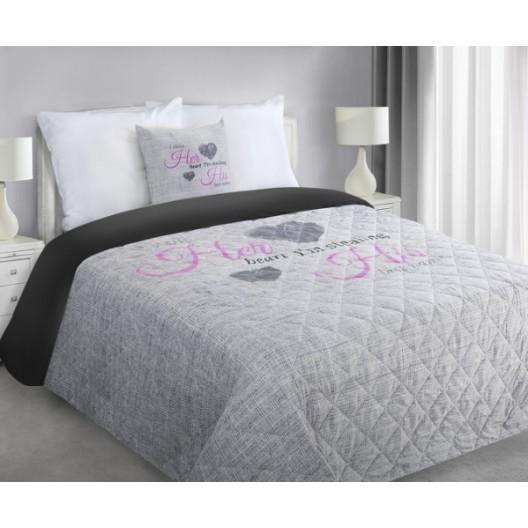 Sivý prešívaný prehoz na postel