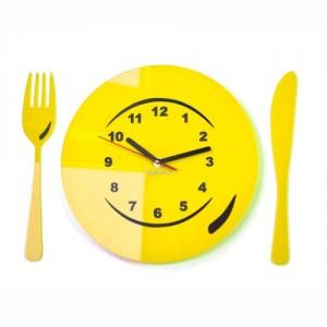 Kuchynské nástenné hodiny tanier s príborom