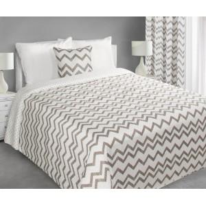 Biely prehoz na posteľ s cik cak vzorom