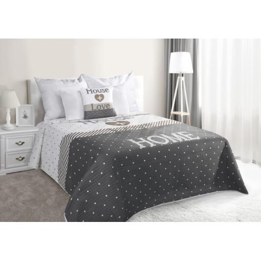 Sivý prehoz na manželskú posteľ HOME
