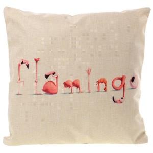 Ľanová obliečka na vankúš Flamingo