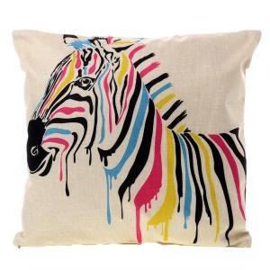 Ľanová obliečka na vankúš so zebrou