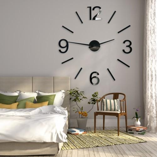 DomTextilu Dekoračné hodiny na stenu v čiernej farbe 9126