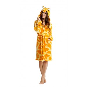 Žltý župan pre dámy s motívom žirafy
