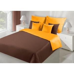 Zaujímavé obojstranné posteľné obliečky v hnedo oránžovej farbe