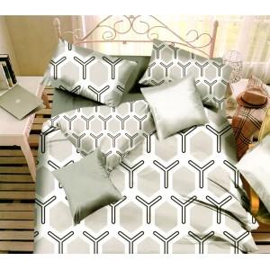 Sivo biele posteľné obliečky s čiernymi vzormi