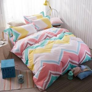 Ružovo žlté posteľné obliečky s cik-cak vzorom