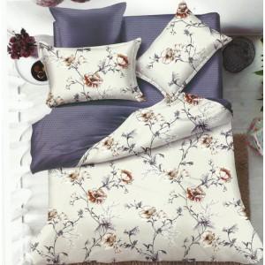 Béžovo modré obojstranné posteľné obliečky s kvetinami