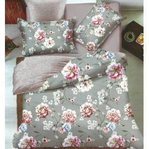 Obojstranné posteľné obliečky v sivo béžovej farbe s kvetinami