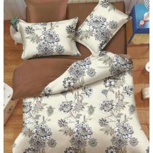 Elegantná obojstranná posteľná obliečka v krémovo hnedej farbe s kvetinami