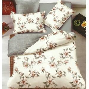 Posteľné obojstranné obliečky v krémovo sivej farbe s kvetmi