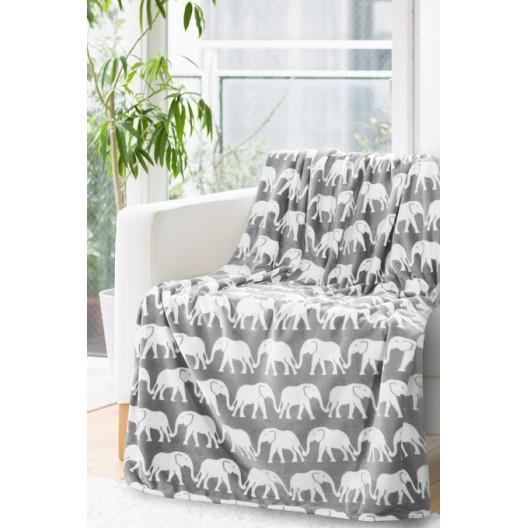 Sivá dekoračná deka so slonmi