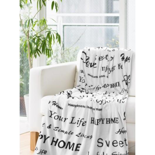 Biela deka s čiernymi nápismi