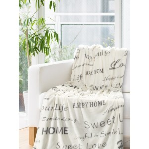 Krémová deka so striebornými nápismi