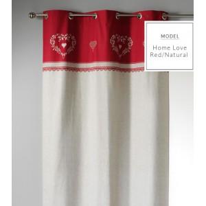 Vianočné škandinávské závesy v krémovo červenej farbe so srdiečkami