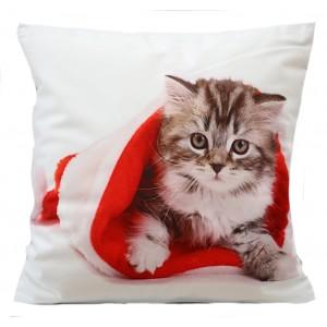 Dekoračná obliečka na vankúš s vianočným motívom mačky v bielej farbe