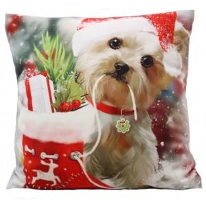Vianočná dekoračná obliečka na vankúšik so psíkom a čižmou