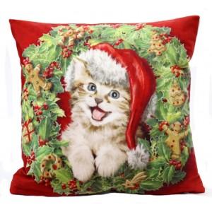 Obliecka na vankus s vianocnym motivom v cervenej farbe