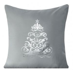 Dekoratívna obliečka na vankúš v sivej farbe s vianočným stromčekom