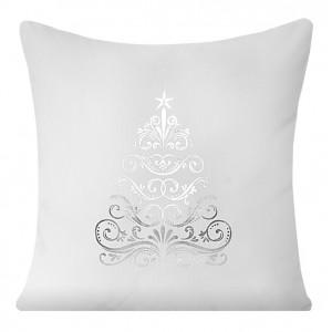 Vianočné dekoračné obliečky na vankúš v bielej farbe so striebornym stromčekom
