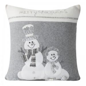 Sivé dekoračne obliečky na vankúš s motívom snehuliakov