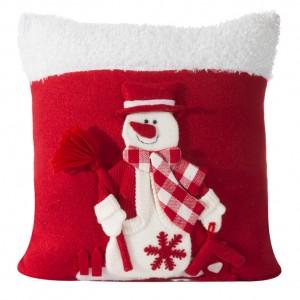 Vianočný dekoračný bielo červený návlek na vankúš so snehuliakom