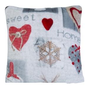 Dekoračná vianočná obliečka na vankúš s motívom sweet home v sivej farbe