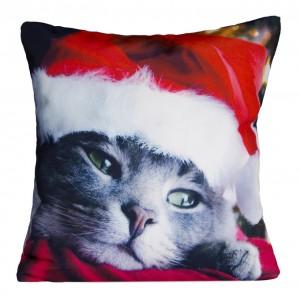 Dekoratívne vianočné navliečky na vankúše s mačičkou a červenou vianočnou čiapkou