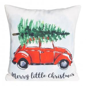 Krásna dekoračná vianočná obliečka na vankúš s autom a jedličkou