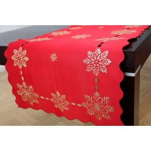 Vianočný červený dekoračný behúň na stôl so striebornými snehovými vločkami