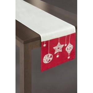 Bielo červený vianočný behúň na stôl s vianočnými motívmi