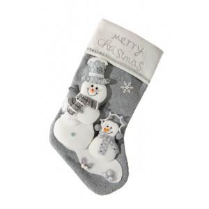 Dekoratívne vianočné čižmy v sivo bielom prevedení s bielými snehuliakmi