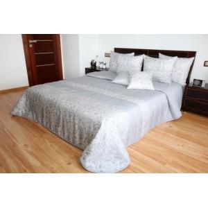 Luxusný prehoz sivej farby na manželskú posteľ