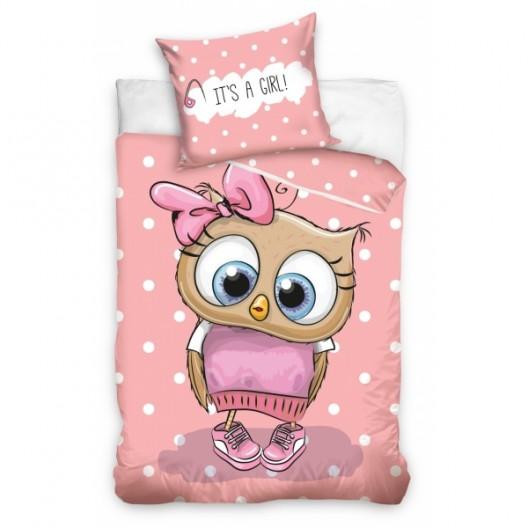Ružové obleičky pre dievčatá so sovičkou