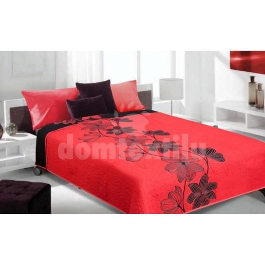 Luxusný obojstranný prehoz na posteľ červený s čiernym ornamentom