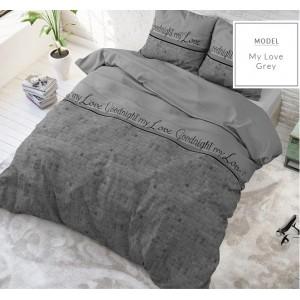 Sive posteľné moderné obliečky s nápismi