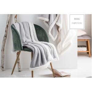 Kvalitná francúzska deka sivej farby s bielym lemovaním