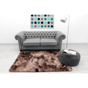 Ombre plyšový koberec hnedej farby