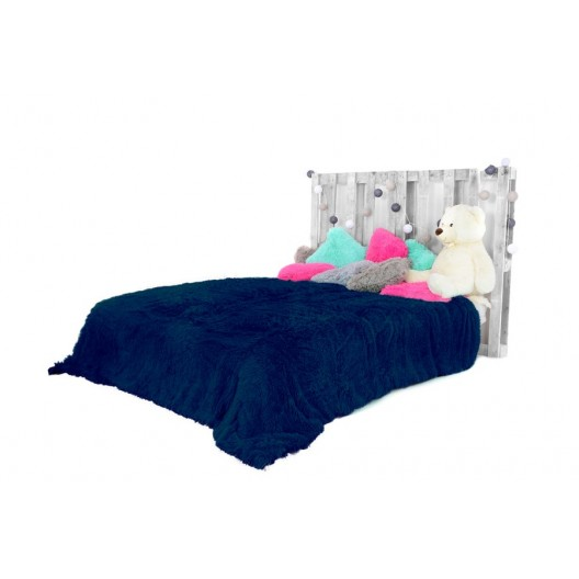 Chlpaté plyšové deky tmavo modrej farby