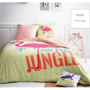 Zelené posteľné obliečky s motívom plameniaka