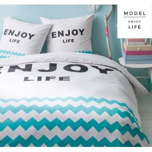 Kvalitné tyrkysovo biele posteľné obliečky s cik cak vzorom