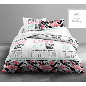 Farebné bavlnené posteľné obliečky s motívom plameniaka