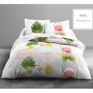 Pestrofarebné bavlnené posteľné obliečky s motívom plameniaka