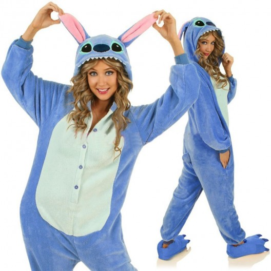 Pyžamové overaly kigurumi modrej farby s motívom stitch