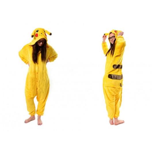 Kigurumi overal na spanie s motívom pikachu v žltej farbe