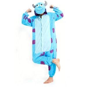 Modré pyžamové overaly kigurumi s motívom MONSTER