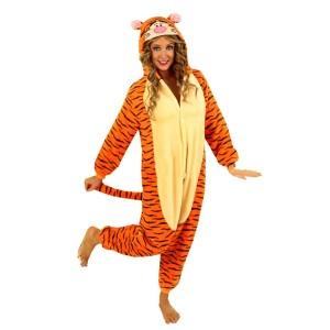 Oranžový kigurumi overal s motívom tigra