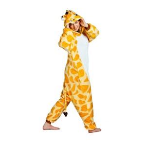 Kigurumi overal na spanie žltej farby s motívom žirafy