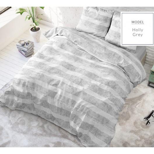 Elegantné sivé posteľné obliečky s pásikmi